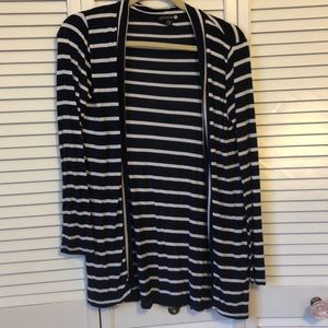 Navy and White Striped Flyaway Cardigan